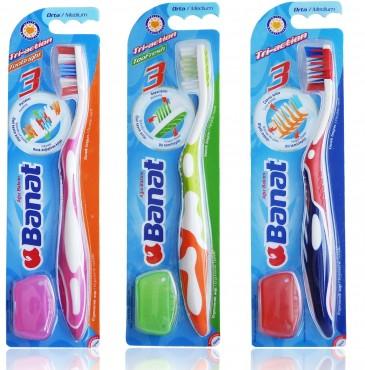 Зубная щётка Banat Tri-action для взрослых с колпачком