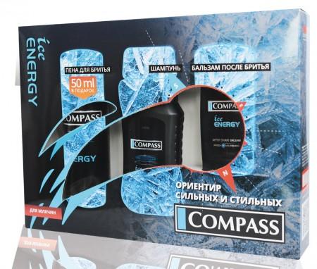 Compass NC031 набор ICE Energy 3х предметный пена (пена для брятья 200мл + шампунь 250мл + бальзам п/г 100мл)