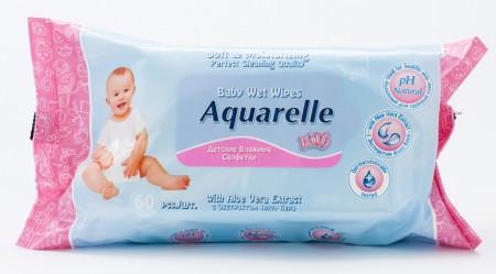 Aquarelle kids детские влажние салфетки для лица и тела 60 шт (екстракт алое)