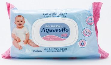 Детские влажные салфетки с пластиковым клапаном для лица и тела c экстрактом алое 60 шт.