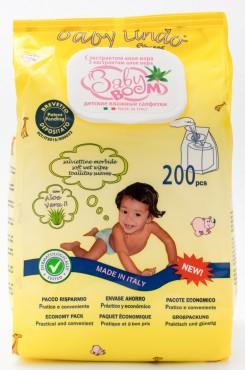 Детские влажные салфетки с экстрактом алое и аллантоином 200 шт